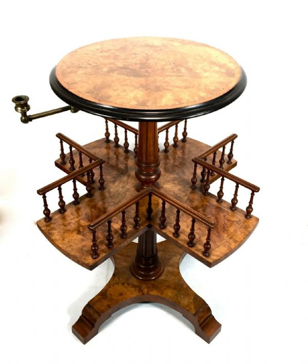 Antique John Taylor & Son Edinburgh Wooden Burr Walnut Bookcase Revolving Table